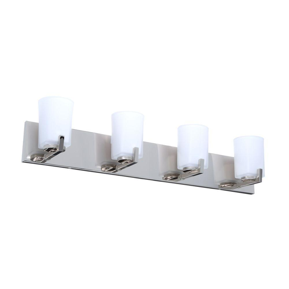 medium resolution of hampton bay wellman 4 light polished nickel vanity light with etched white glass shades