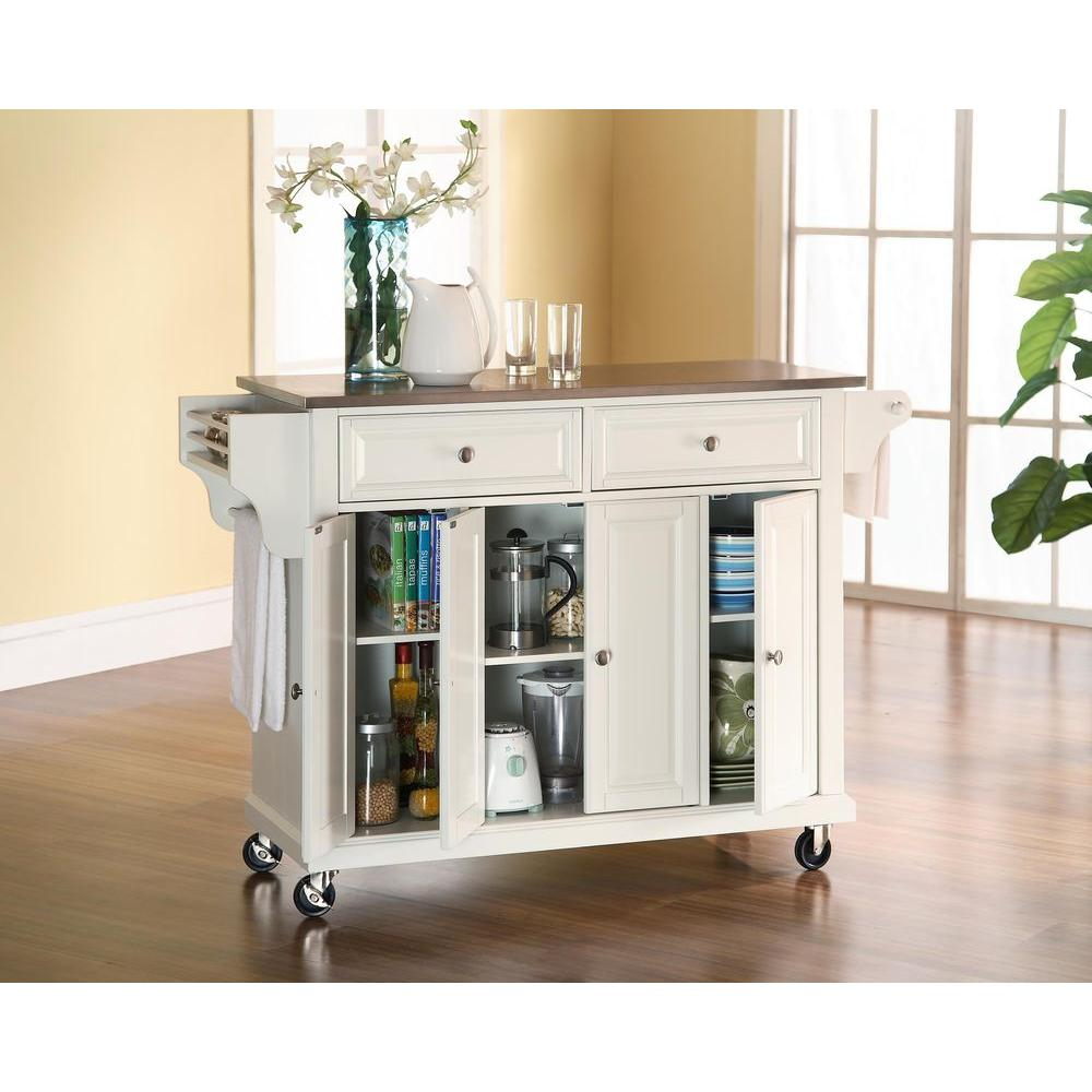 kitchen cart on wheels mosaic floor tiles crosley white with stainless steel top kf30002ewh the home depot