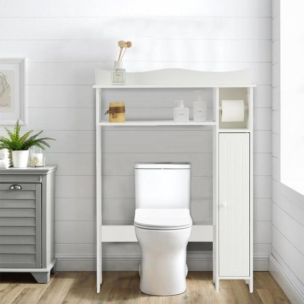 Casainc 8 In W Toilet Storage Cabinet Bathroom Space Saver With Paper Holder In White Wf Hw63339 The Home Depot