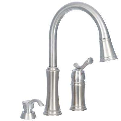 3 hole kitchen faucet storage sets for 2 or faucets the home depot lakeview single handle pull down sprayer with soap dispenser in stainless