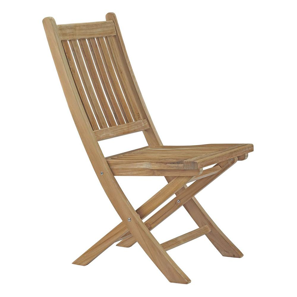 Patio Folding Chairs Modway Marina Patio Folding Teak Outdoor Dining Chair In Natural