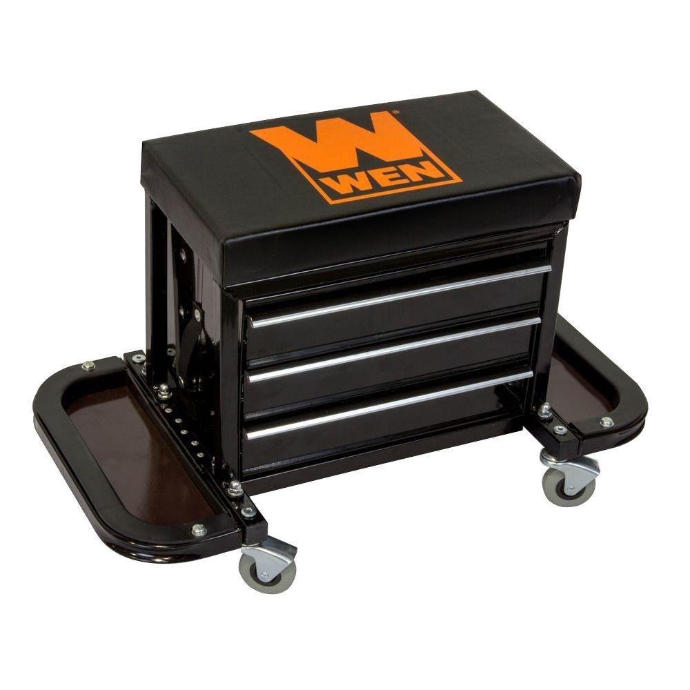 garage chairs rolling chair cover hire st albans mechanics seat creeper stool shop car work tool box details about chest storage