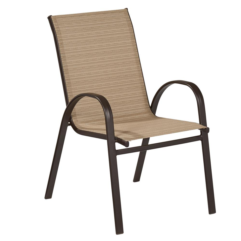 sling chair outdoor dark wood folding chairs hampton bay mix and match stackable dining in cafe