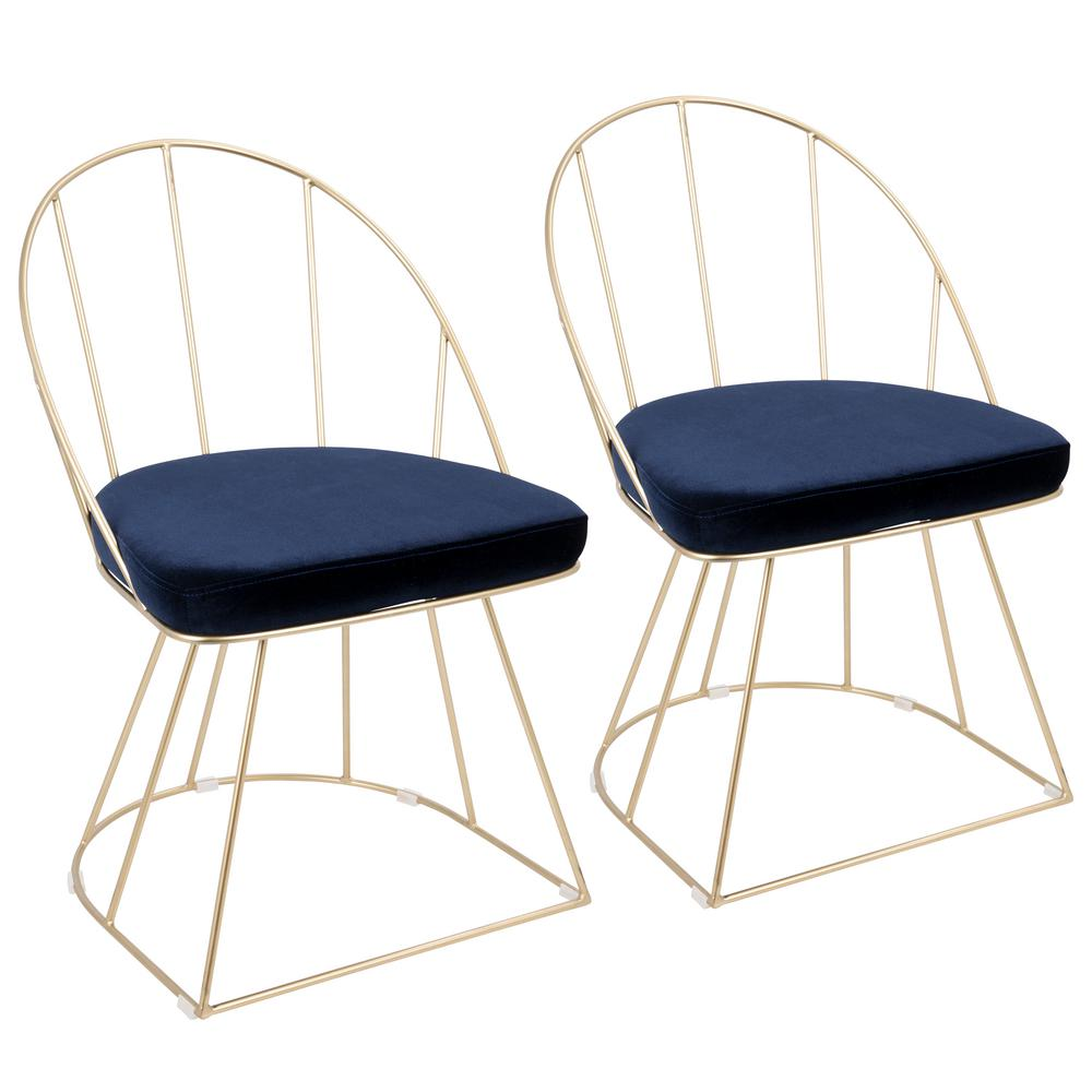 gold dining chairs chair gym mini treningssykkel lumisource canary contemporary accent and blue velvet set of 2