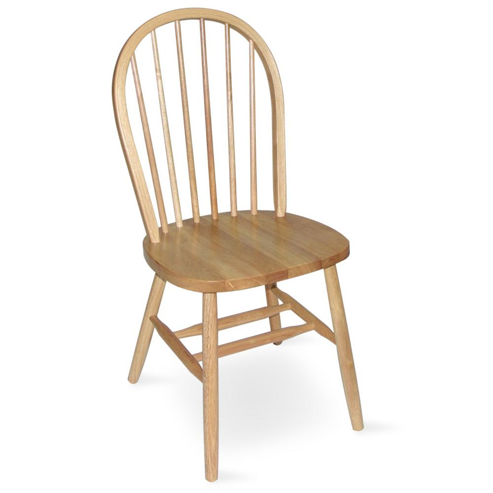round wooden chair accent arm international concepts natural wood spindle back windsor dining c01 212 the home depot