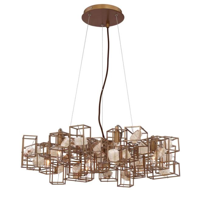 Eurofase Patton Collection 6 Light Bronze Chandelier With Natural Stone Shade