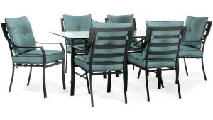 Hanover Lavallette Black Steel 7 Piece Outdoor Dining Set