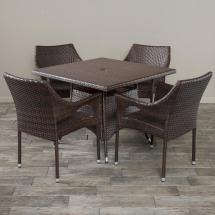 Noble House Cayden Multibrown 5-piece Wicker Square