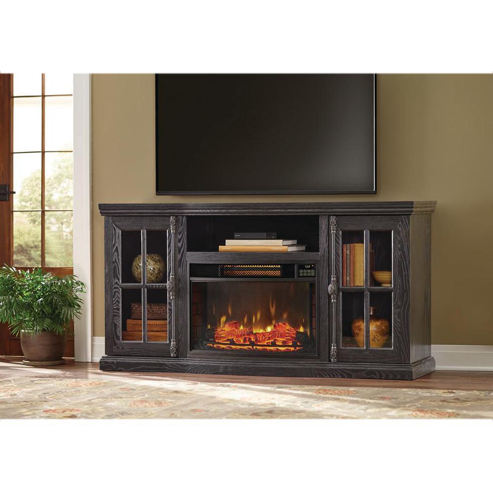 Muskoka Hudson 53 in Freestanding Electric Fireplace TV Stand in Dark Weathered Gray370161