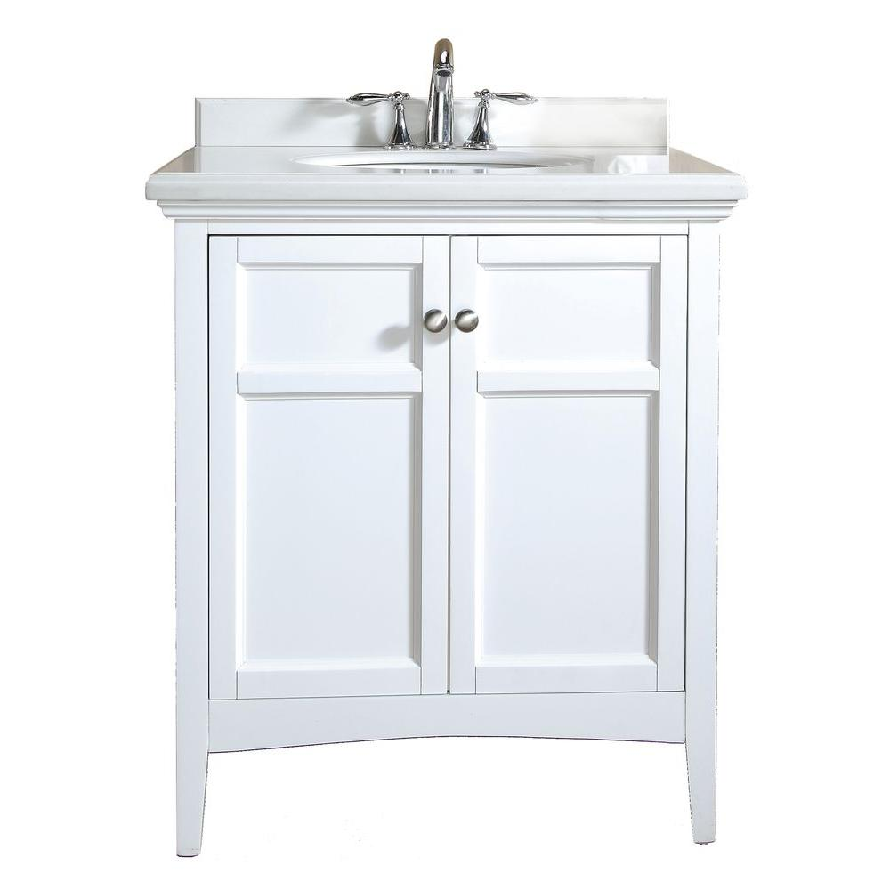 ove decors campo 30 in vanity in white lacquer with granite vanity top in white with white basin