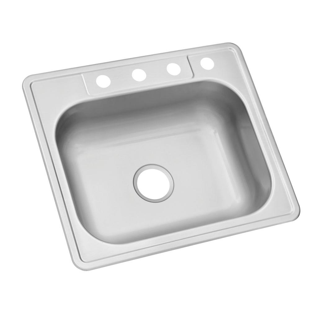 single sink kitchen country clocks glacier bay drop in stainless steel 25 4 hole bowl
