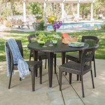 Noble House Emory Multi-brown 5-piece Wicker Outdoor