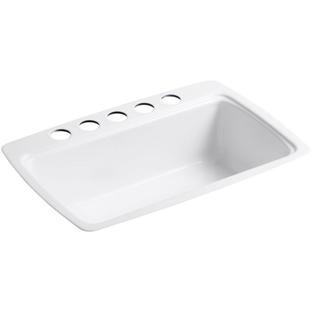 kohler cast iron kitchen sink small design ideas cape dory undermount 33 in 5 hole single bowl