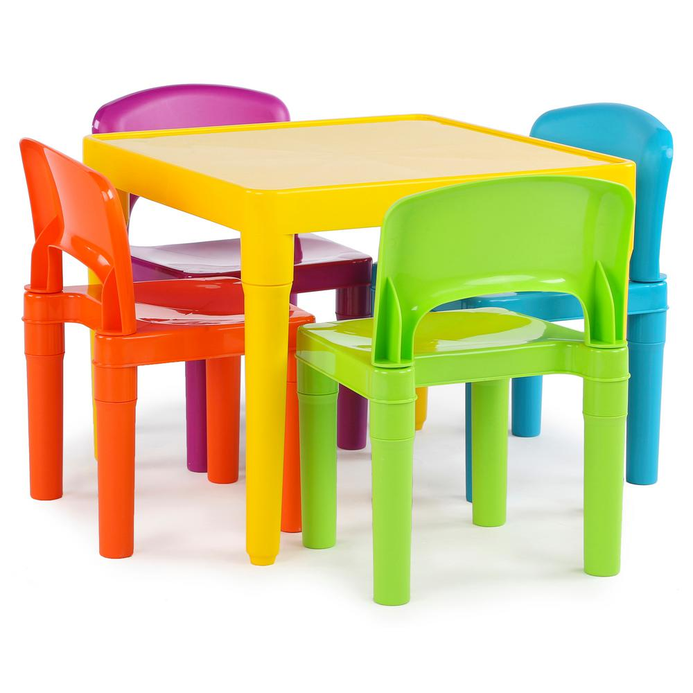 Tot Tutors Playtime 5Piece Vibrant Colors Kids Table and