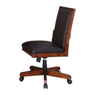 wood office chair rattan chairs indoor desk tilt control home austere antiques nora finish tobacco leather side