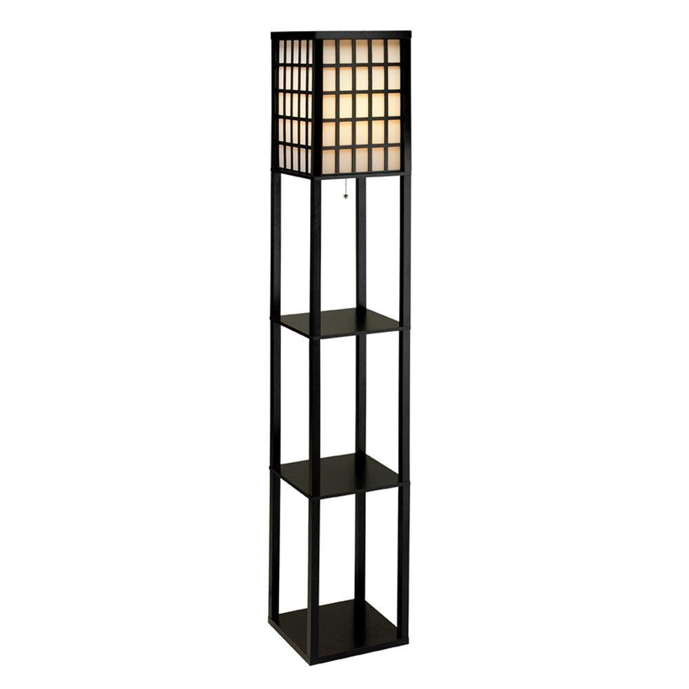 Adesso Middleton 63 in Black Wooden Shelf Floor Lamp3672