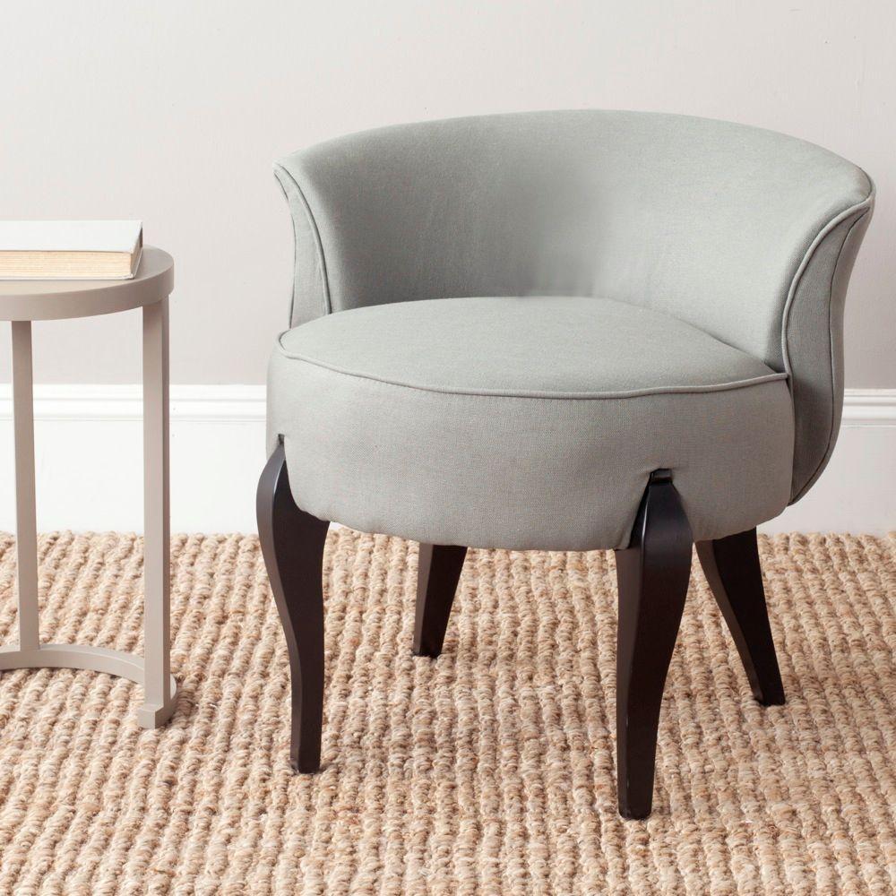 Safavieh Mora Sea Mist and Black Linen Vanity Chair
