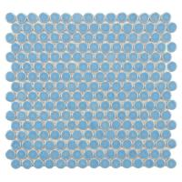 Merola Tile Hudson Penny Round Light Blue 12 in. x 12-5/8 ...