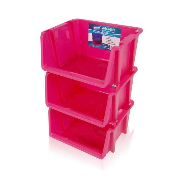 Stackable Storage Bin In Pink 3-pack -st105fl3-047 - Home Depot