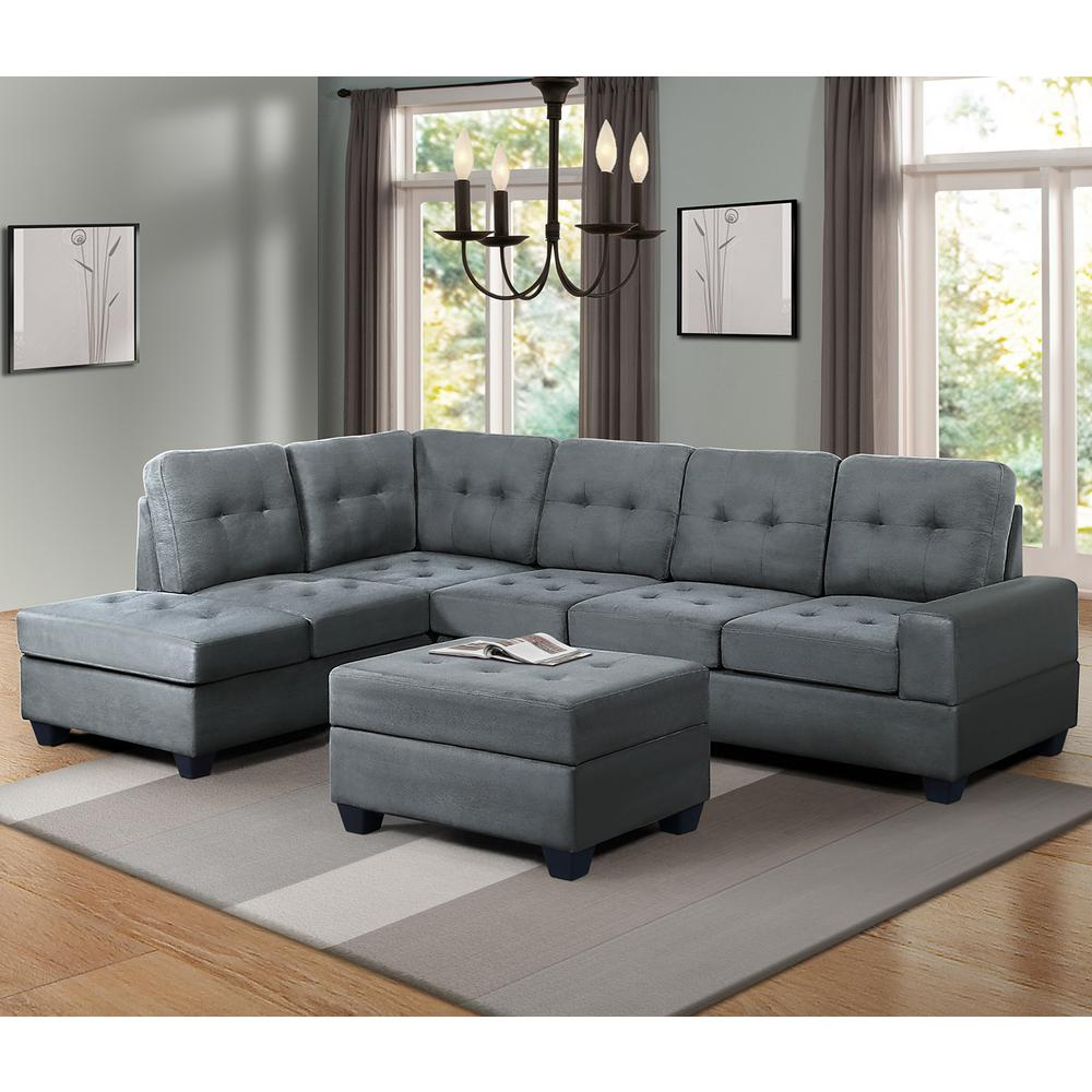 bright sofa leather sleeper with air mattress harper designs grey 3 piece sectional microfiber reversible chaise lounge storage ottoman and cup holders