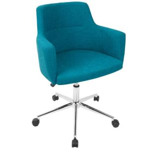 blue office chair linens and things covers lumisource andrew contemporary adjustable teal fabric oc andrw tl the home depot