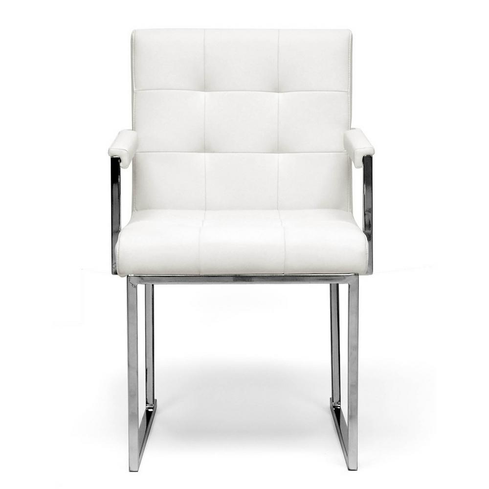 white upholstered chairs step 2 baxton studio collins faux leather chair 28862