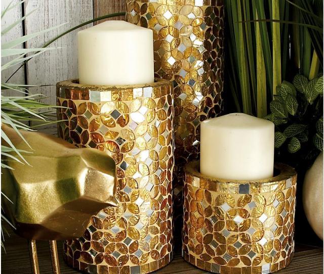 Litton Lane Gold Bronze Iron Metal Mosaic Pillar Candle Holders Set Of 3