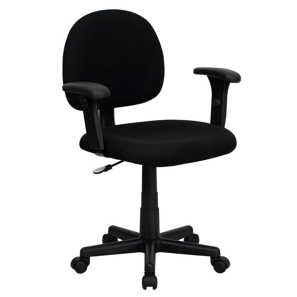office chair with adjustable arms ergonomic without back carnegy avenue mid black fabric swivel task cga go 0448 bl hd the home depot