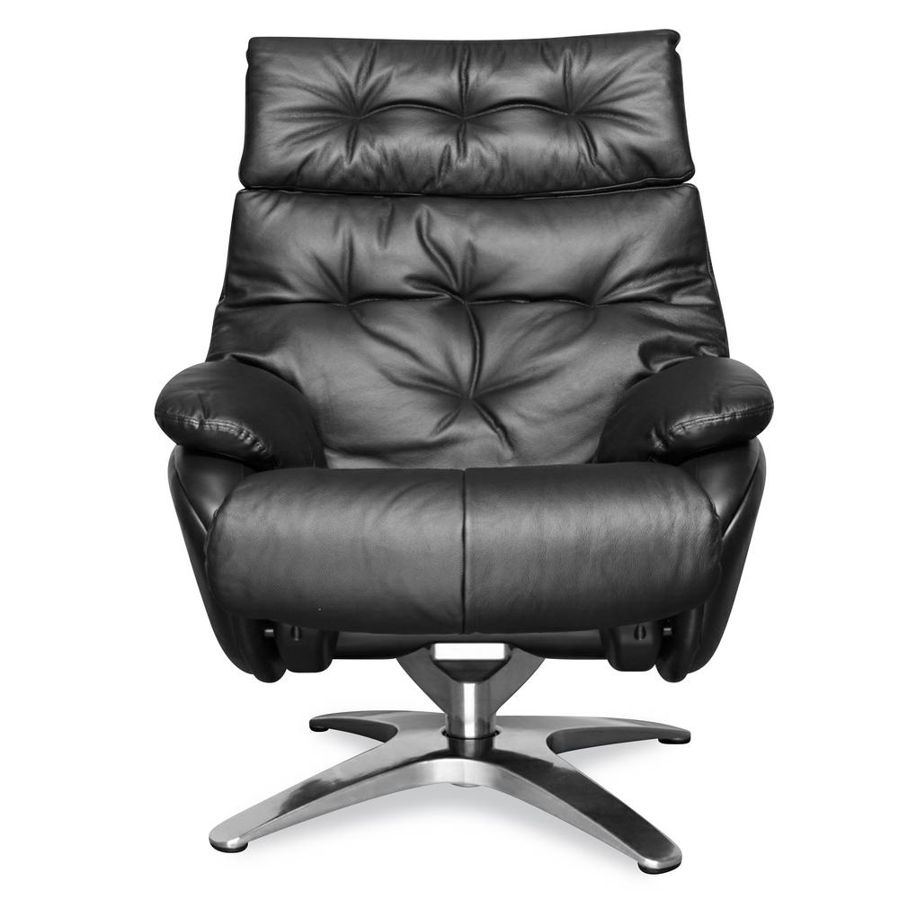 Black Leather Lounge Chair Poly And Bark Paradigm Black Leather Lounge Chair With Ottoman