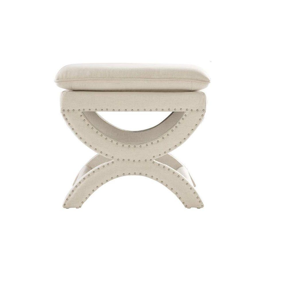 home decorators collection valencia 19 5 in h upholstered vanity stool in faux linen herringbone natural 1587100200 the home depot