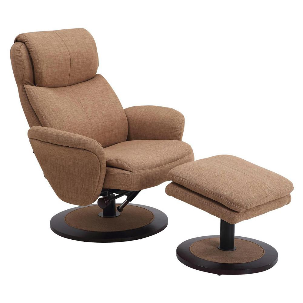 Mac Motion Chairs Mac Motion Comfort Chair Taupe Fabric Swivel Recliner With Ottoman