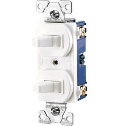 eaton commercial grade 15 amp single pole 2 toggle switches with back and side [ 1000 x 1000 Pixel ]