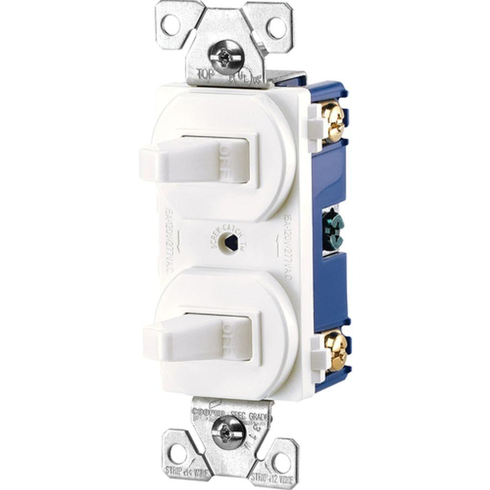 medium resolution of eaton commercial grade 15 amp single pole 2 toggle switches with 15 amp single pole 2 toggle switches with back and side wiring white