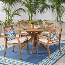 Noble House Llano Teak Brown 5-piece Wood Outdoor Dining