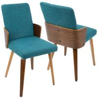 Lumisource Carmella Mid-Century Modern Walnut and Teal ...