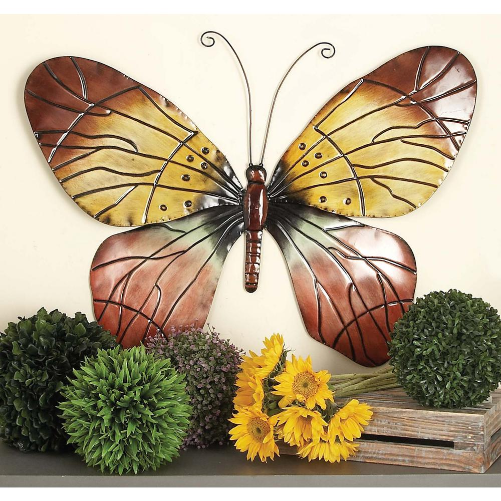 Litton Lane 36 In X 28 In New Traditional Brown Pink And Blue Iron Butterfly Wall Decor 64263 The Home Depot