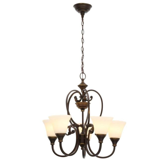 Hampton Bay Somerset 5 Light Bronze Chandelier With Bell Shaped Frosted Glass Shades
