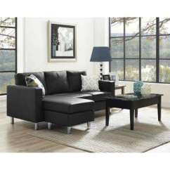 L Shaped Black Leather Sofa Set Bench Style Bed Shape Faux Sectionals Living Room Furniture Small Spaces 2 Piece Configurable Sectional