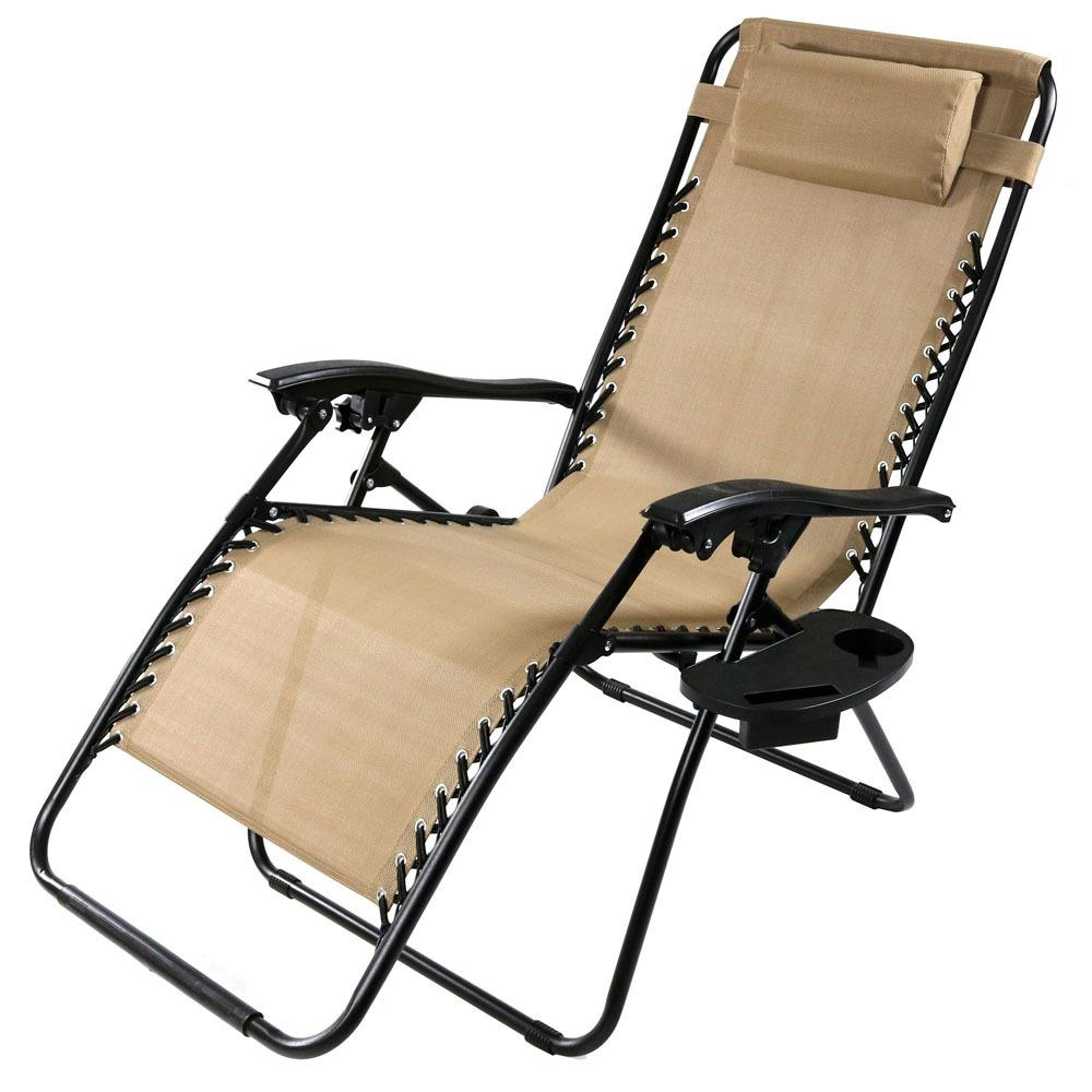 Zero Gravity Outdoor Lounge Chair Sunnydaze Decor Oversized Khaki Zero Gravity Sling Patio Lounge Chair With Cupholder