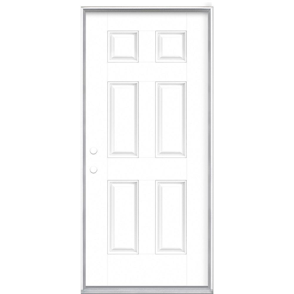 Masonite 36 in. x 80 in. 6-Panel Ultra Pure White Right