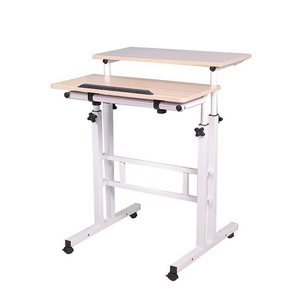 Mind Reader 2Tier Adjustable Sit and Stand Rolling Desk
