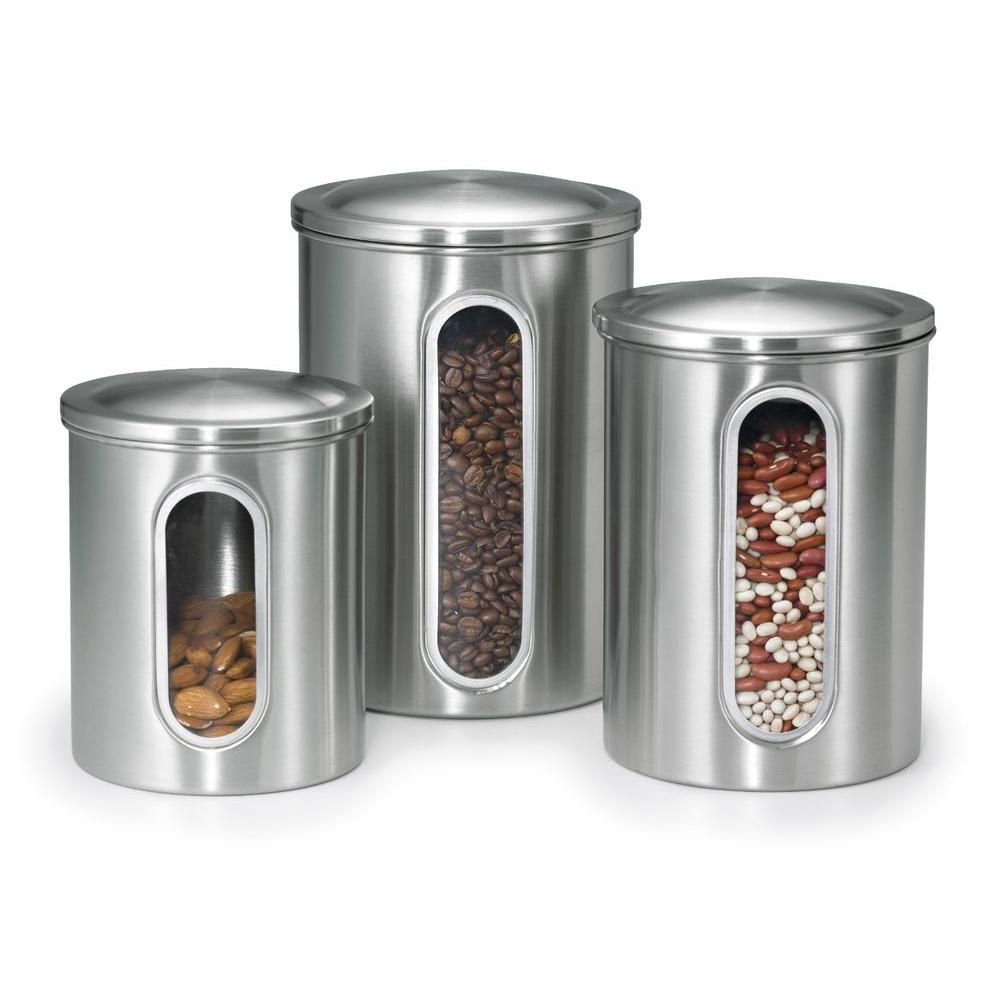 canisters kitchen white corner cabinet polder stainless steel canister set 3 piece 3346 75rm the home depot