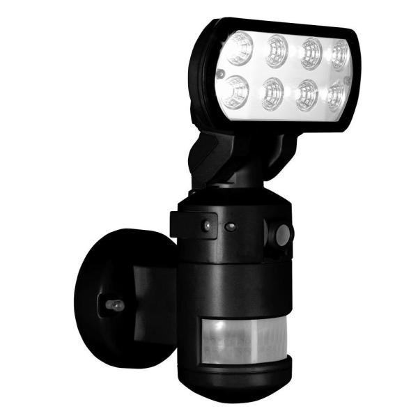 Nightwatcher Security 220-degree Outdoor Black Motorized Motion-tracking Led Light With