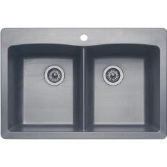 Colored Kitchen Sinks How To Set Up A Pantry Blanco Diamond Dual Mount Granite Composite 33 In 1 Hole Equal Double Bowl Sink Metallic Gray