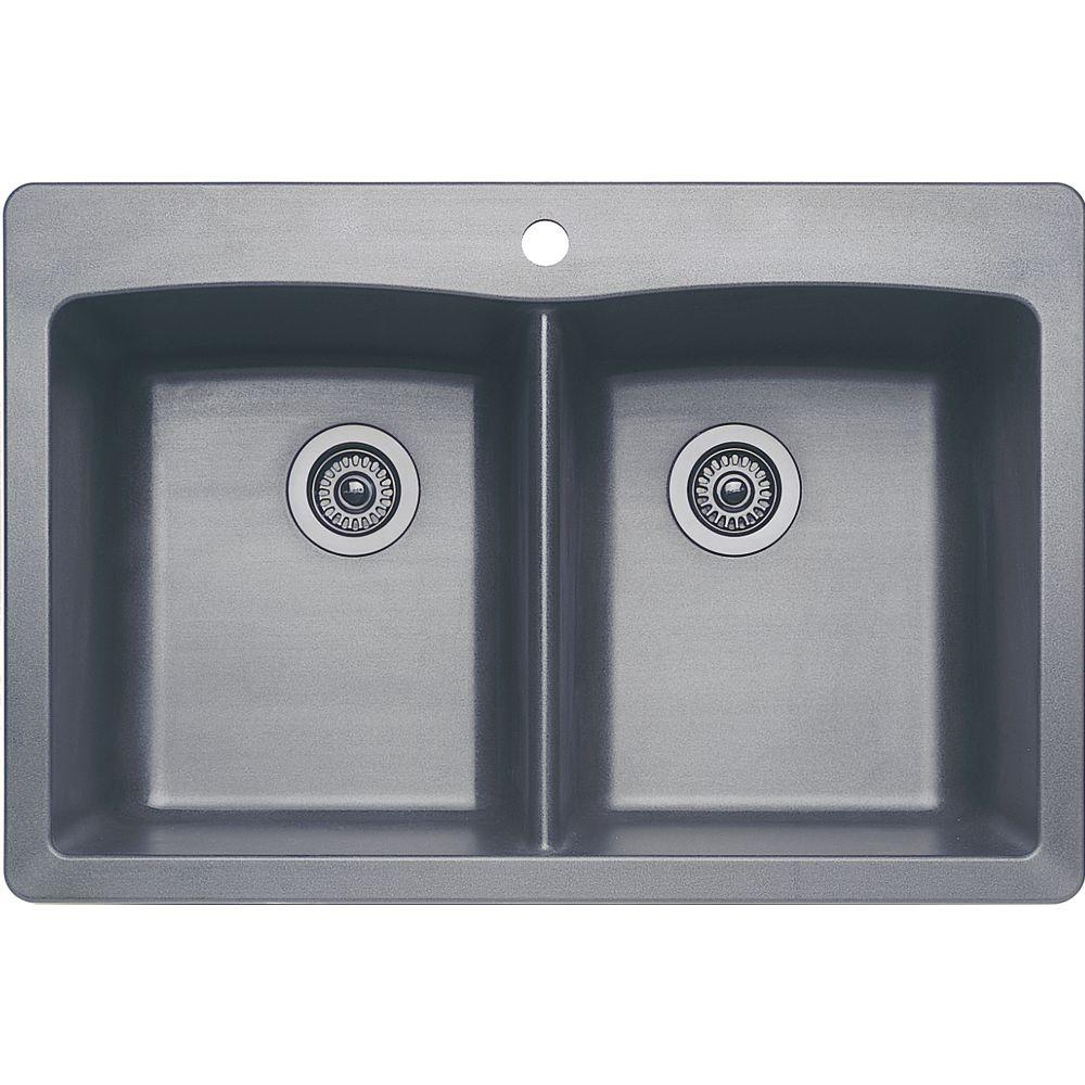 blanco kitchen sink backyard diamond dual mount granite composite 33 in 1 hole equal double bowl
