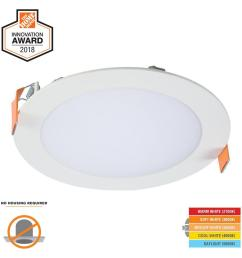 hlb 6 in white round integrated led recessed light direct mount [ 1000 x 1000 Pixel ]