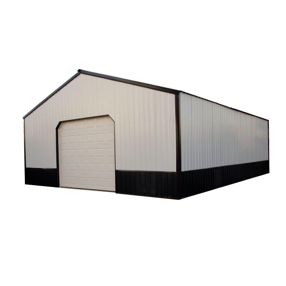 hight resolution of wood pole barn garage kit without floor hansen 4000 series the home depot