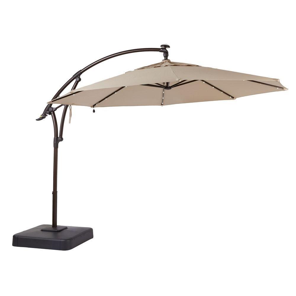 Hampton Bay 11 ft LED Offset Patio Umbrella in Sunbrella