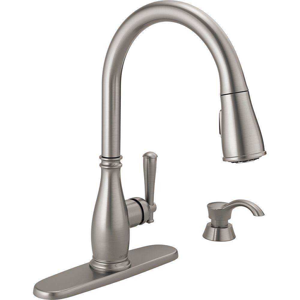 delta single handle kitchen faucet metal cabinets for sale charmaine pull down sprayer with soap dispenser and magnatite