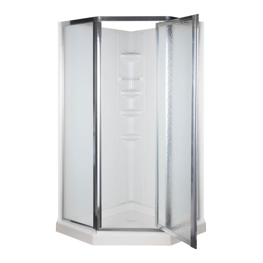38 in x 38 in x 7414 in NeoAngle Shower Kit in White and Chrome403306  The Home Depot